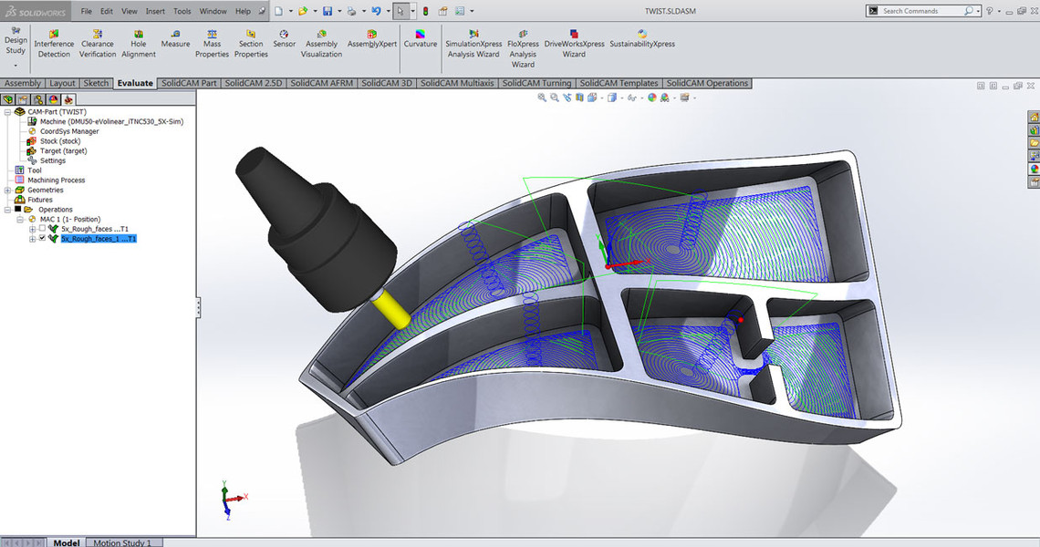 SolidCAM CAM Software: Simultaneous 5x Milling