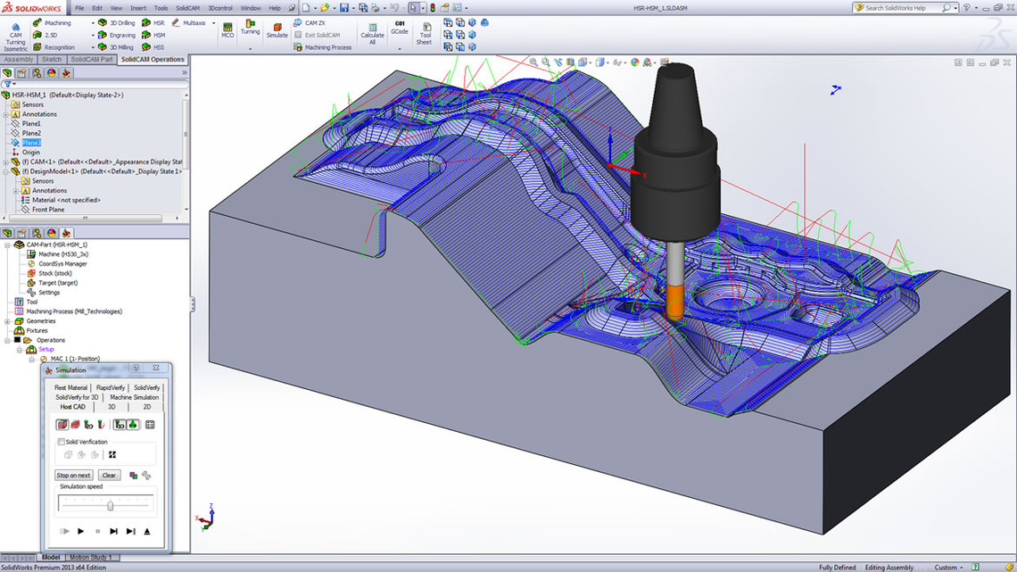 Solidcam cam software hsm 3d high speed machining for Software planos 3d